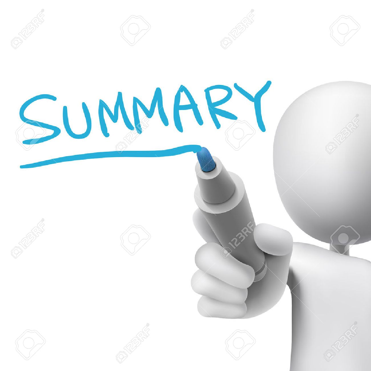 summary word written by 3d man over white - 31273724