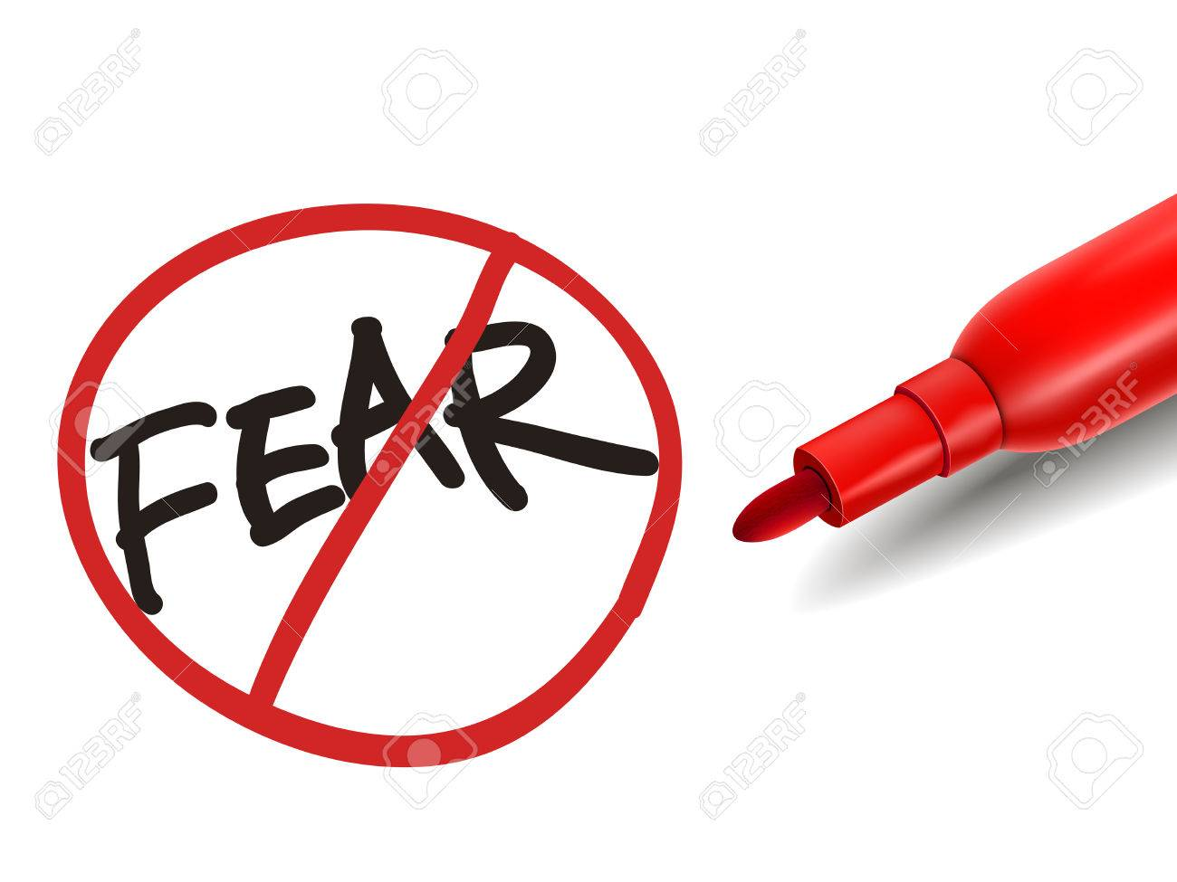 no fear word with a red marker over white - 31395202