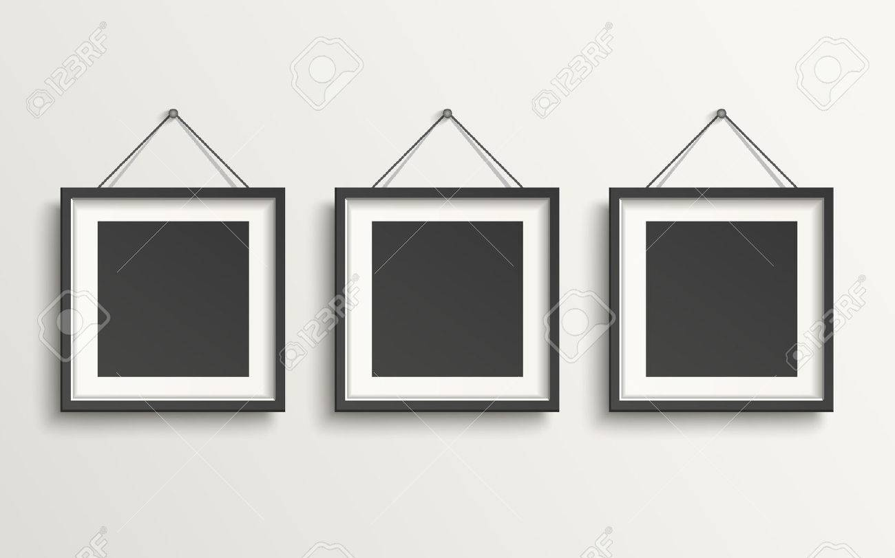 blank picture frame template set hanging on wall royalty free