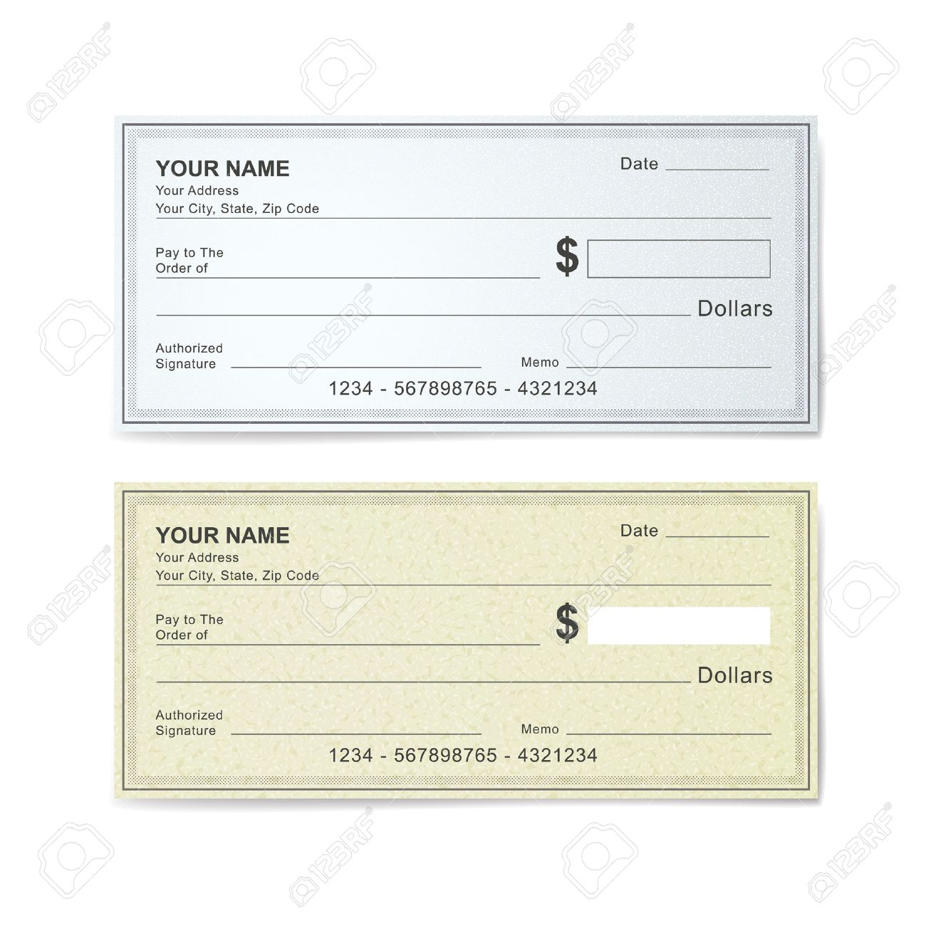 blank bank check template isolated on white royalty free cliparts