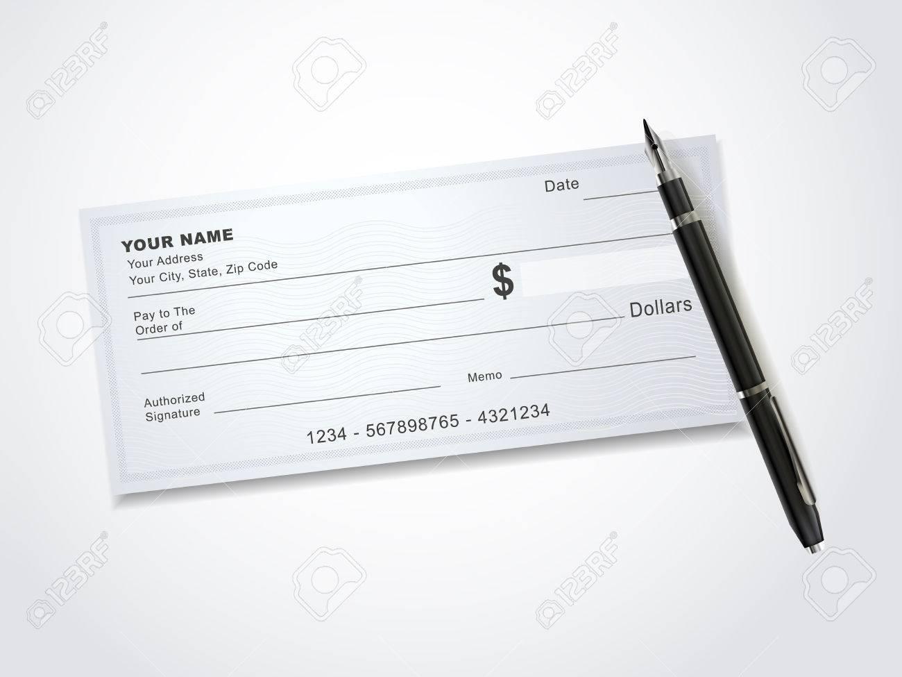 Blanc Modele De Cheque De Banque Et Stylo Isole Sur Blanc Clip Art