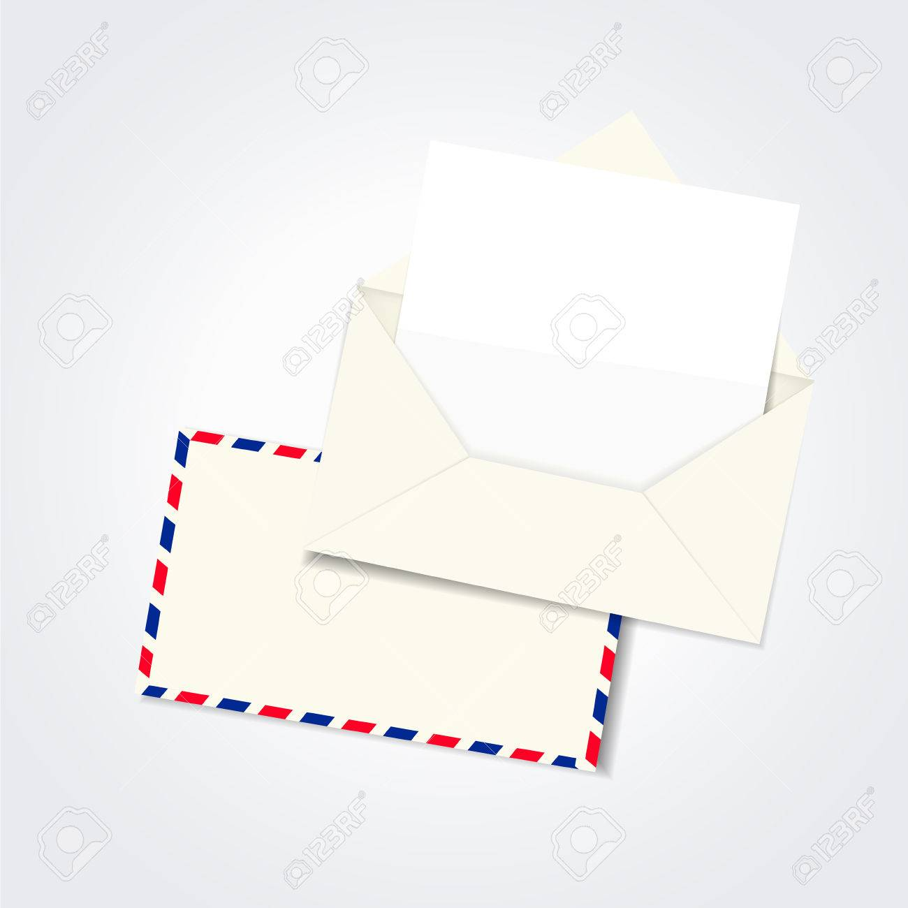 Blank Envelope And Letter Template Isolated On White Royalty Free