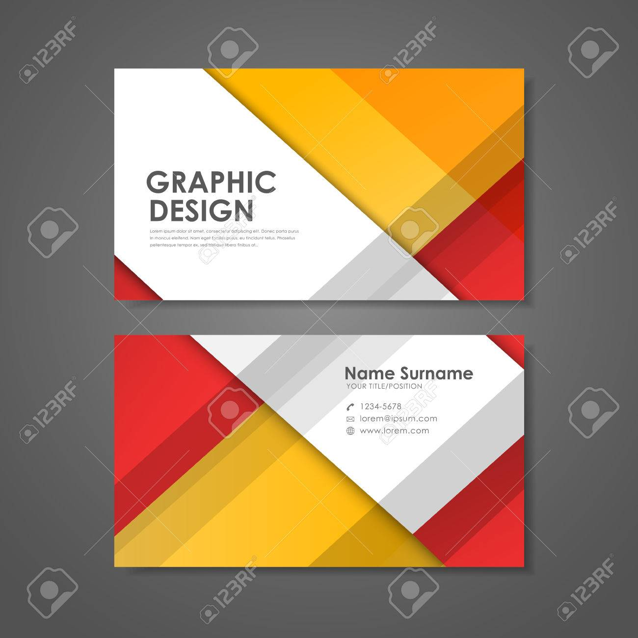 Abstract Creative Business Card Template In Red And Orange Royalty - Creative business card templates
