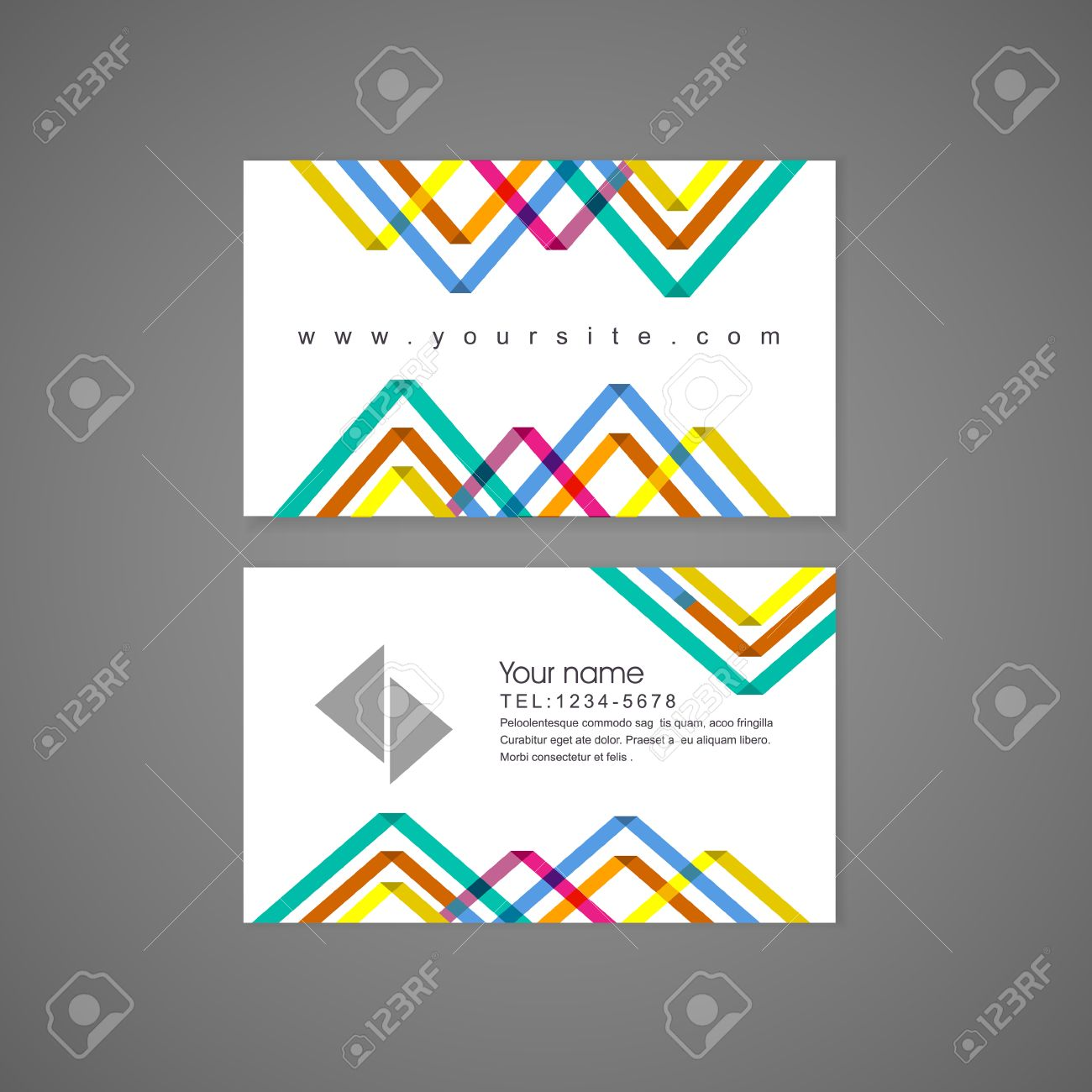 Abstract Colorful Triangle Pattern Background Business Card Template ...
