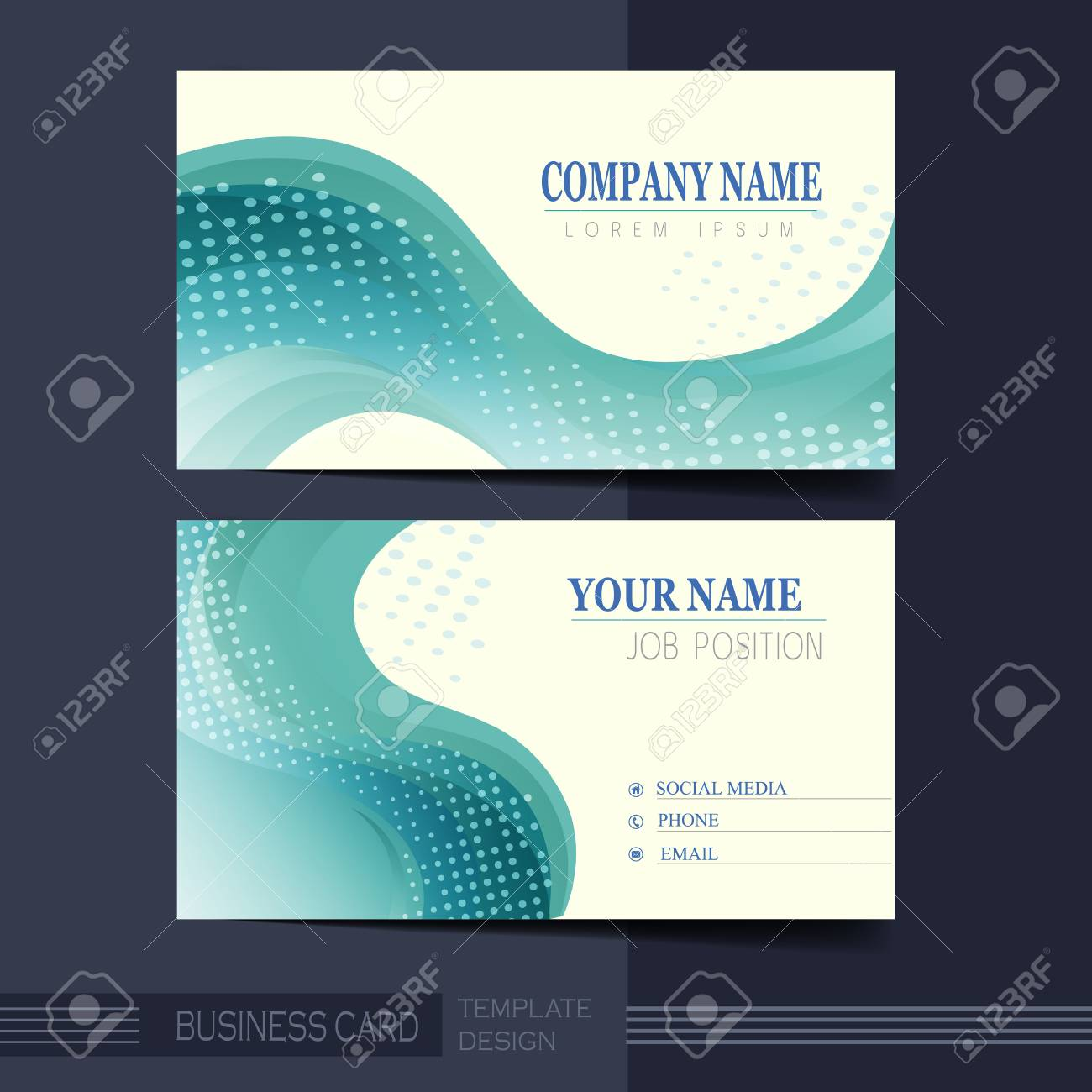 Abstract Smooth Curve Lines Background Business Card Template ...