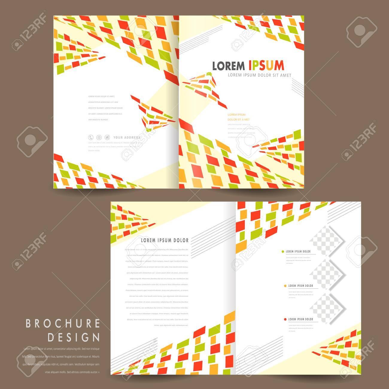 colorful modern mosaic style half fold brochure template royalty
