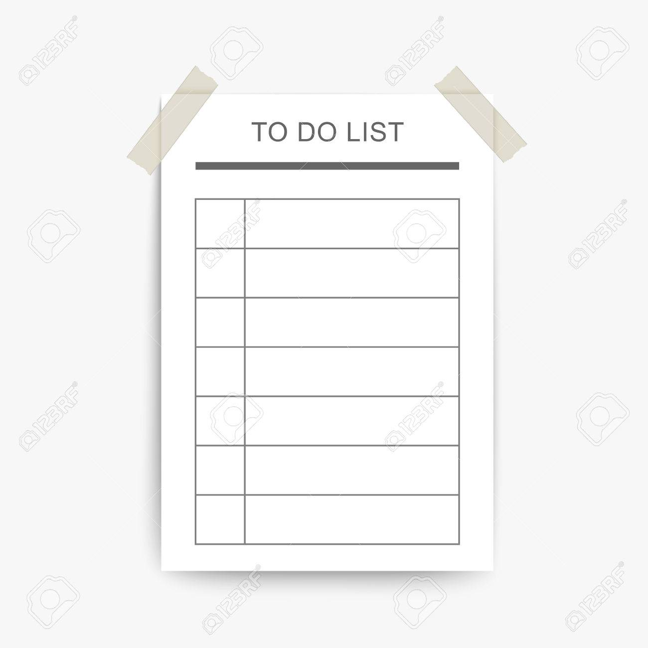 image relating to Blank to Do List identify blank in the direction of do listing content upon the white wall