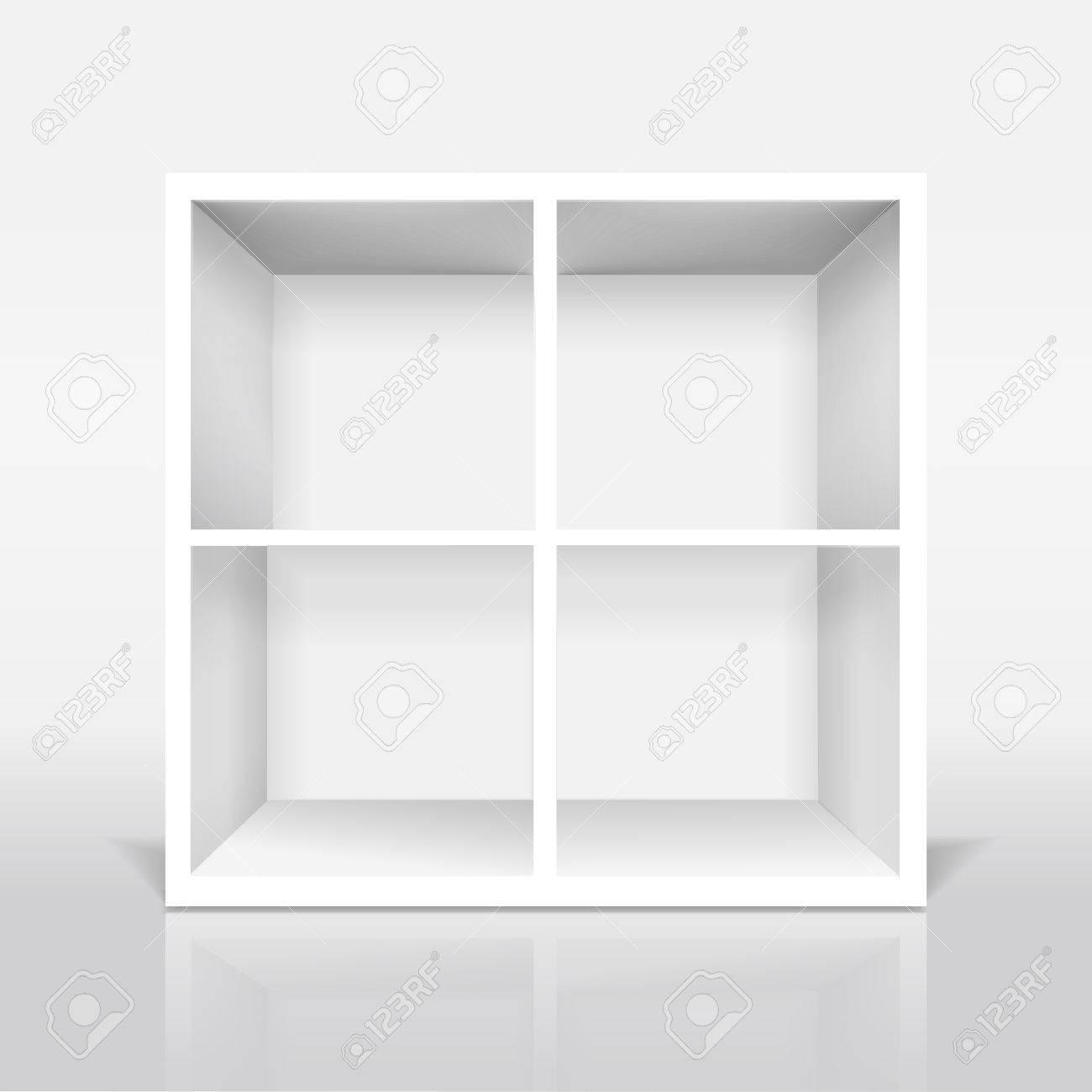 Blanco Moderne Boekenkast Geïsoleerd Op Witte Achtergrond Royalty ...