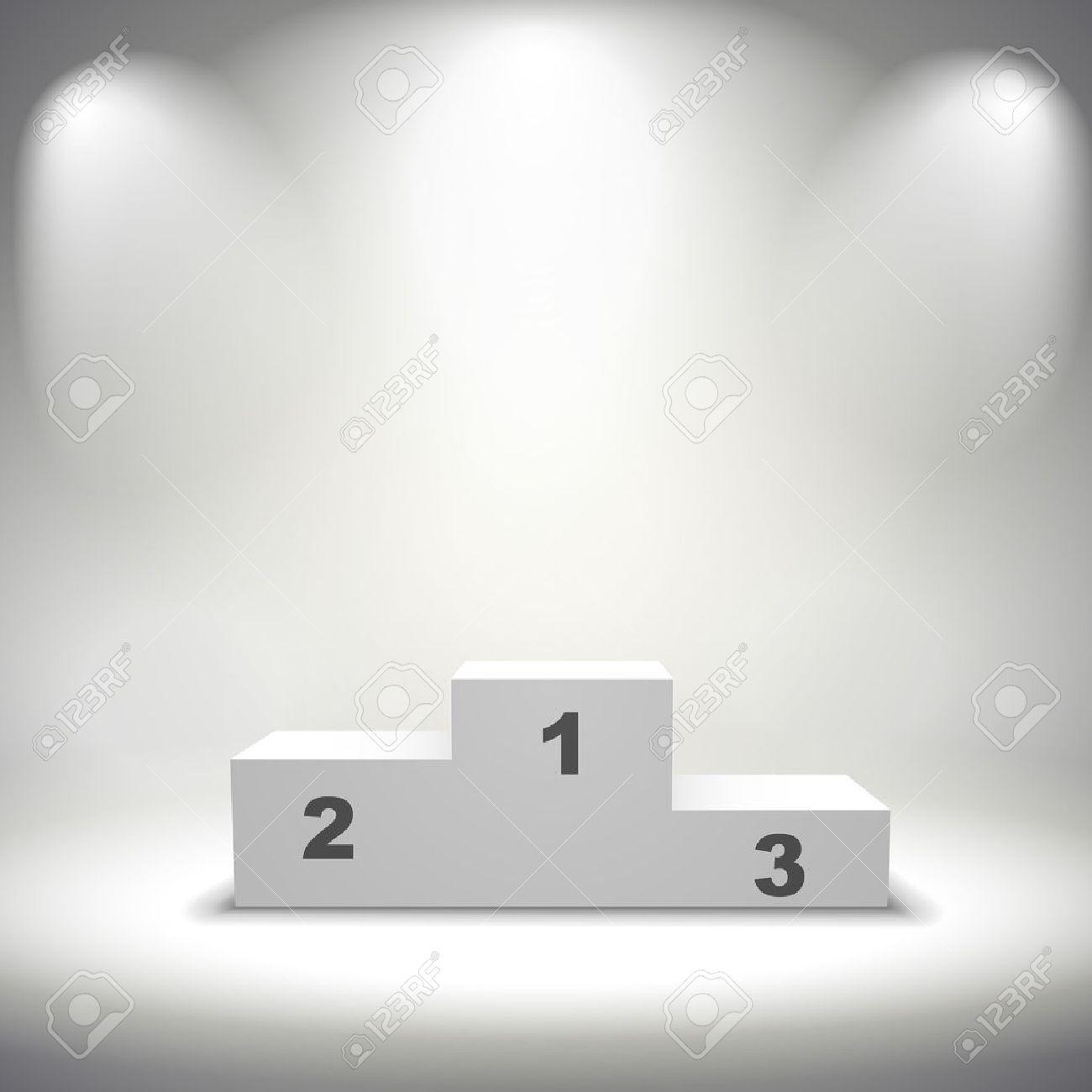 illuminated winners podium isolated on grey background - 32699371