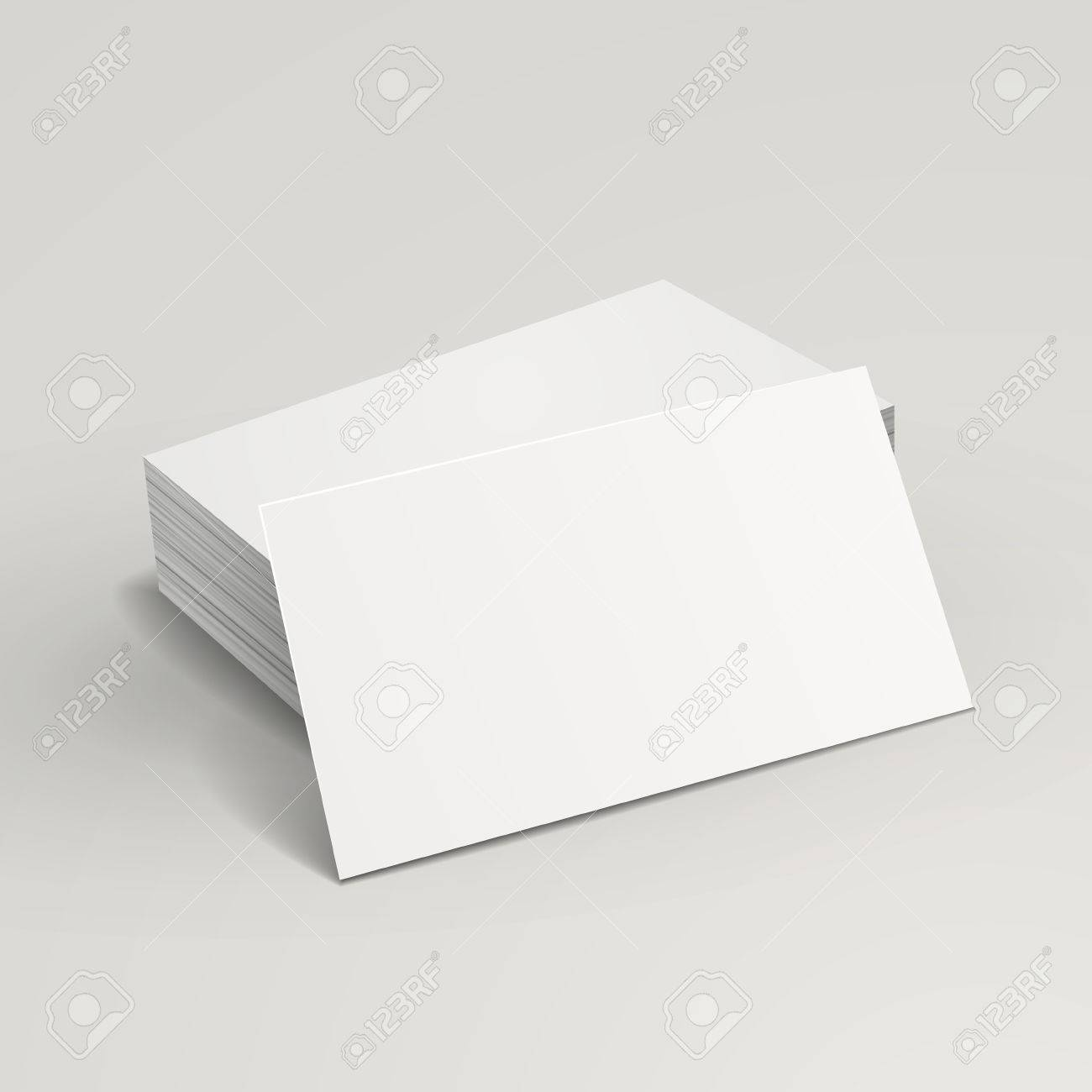Blank Business Cards Stack Up Over Grey Background Royalty Free ...