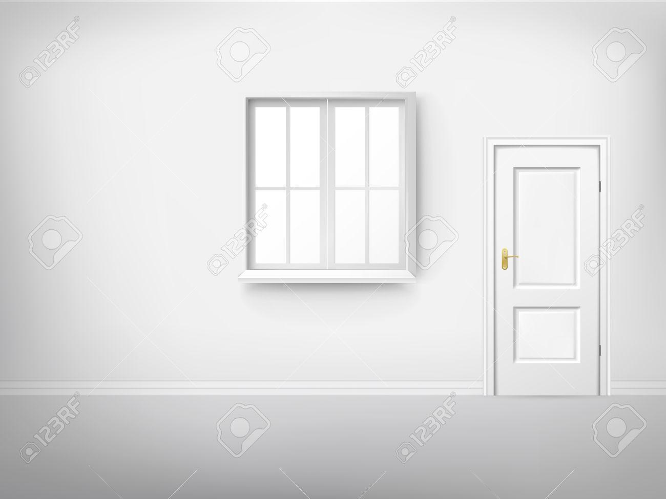 3d empty room with window and door - 32699804