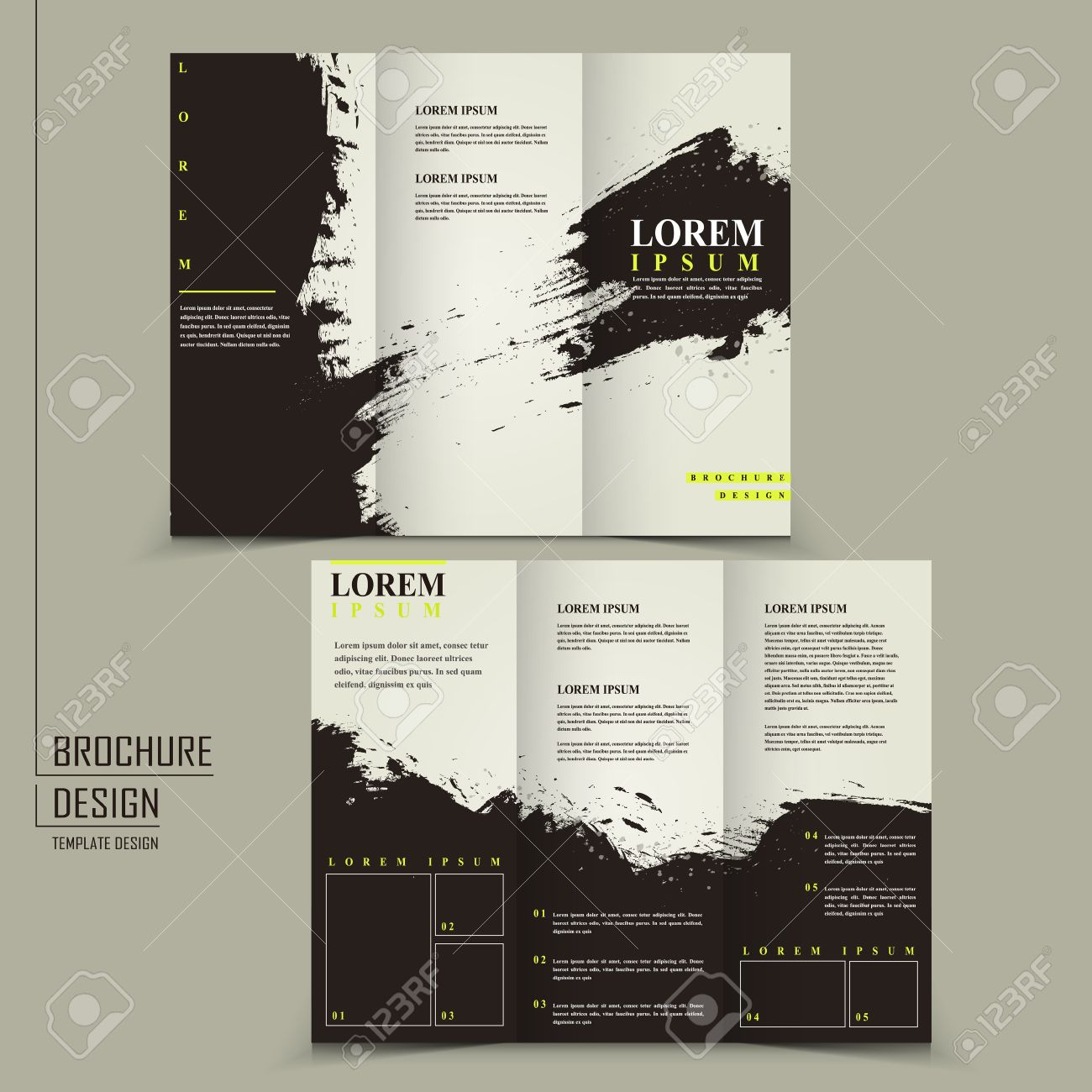 abstract chinese calligraphy design for tri fold brochure template