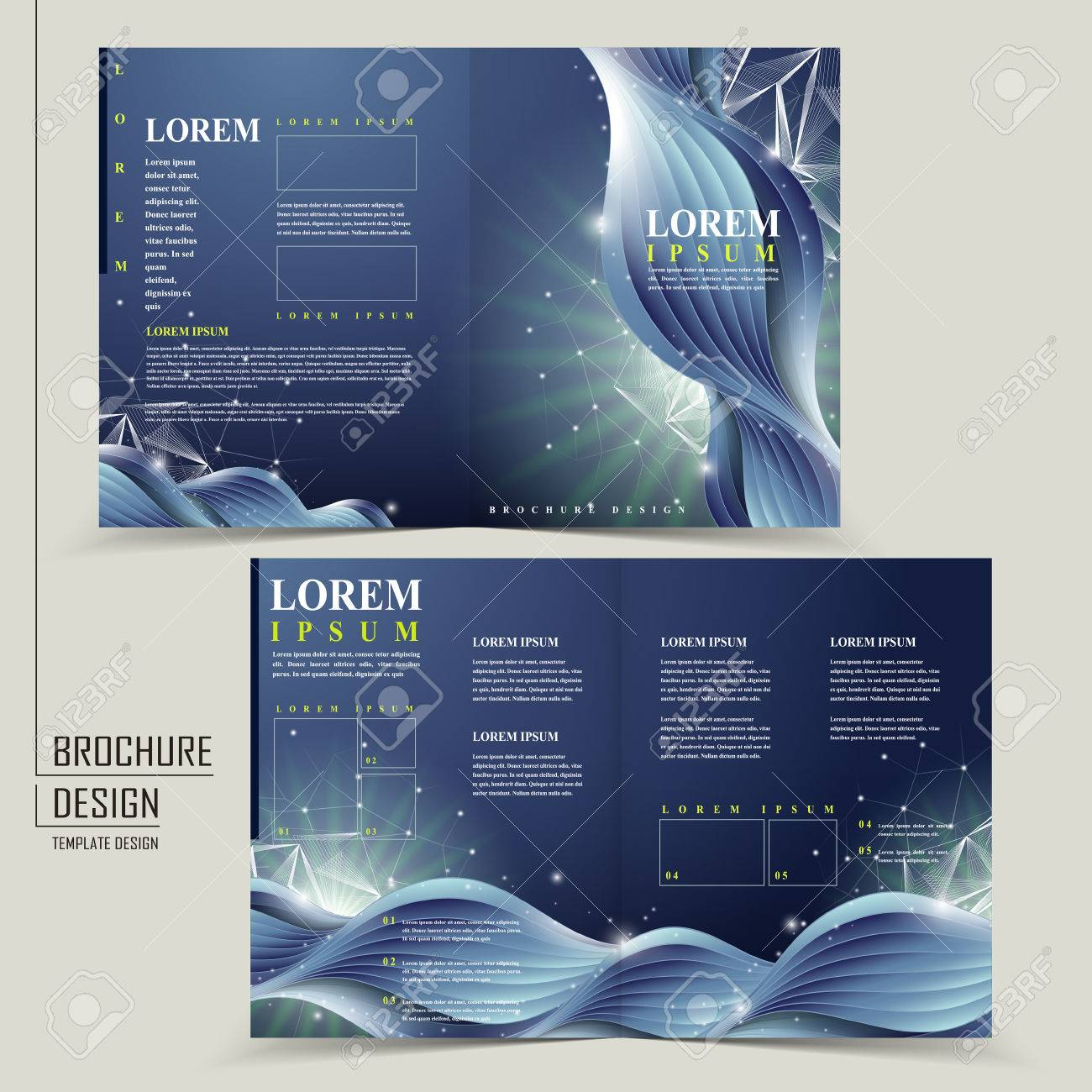 Abstract Technology Background For Halffold Brochure Template - Single fold brochure template