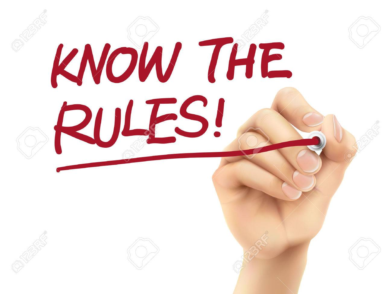 know the rules words written by 3d hand over white background - 33078955