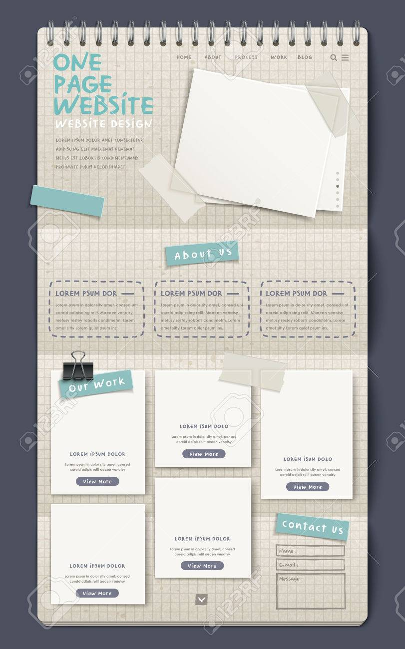 3d Notebook Style One Page Website Design Template Royalty Free ...