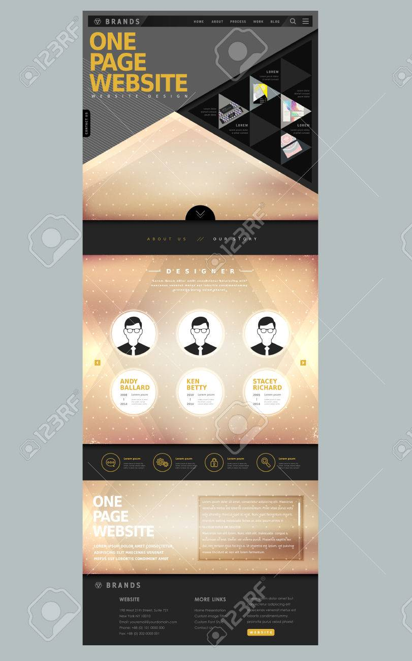 Geometric Modern Style One Page Website Design Template Royalty Free ...