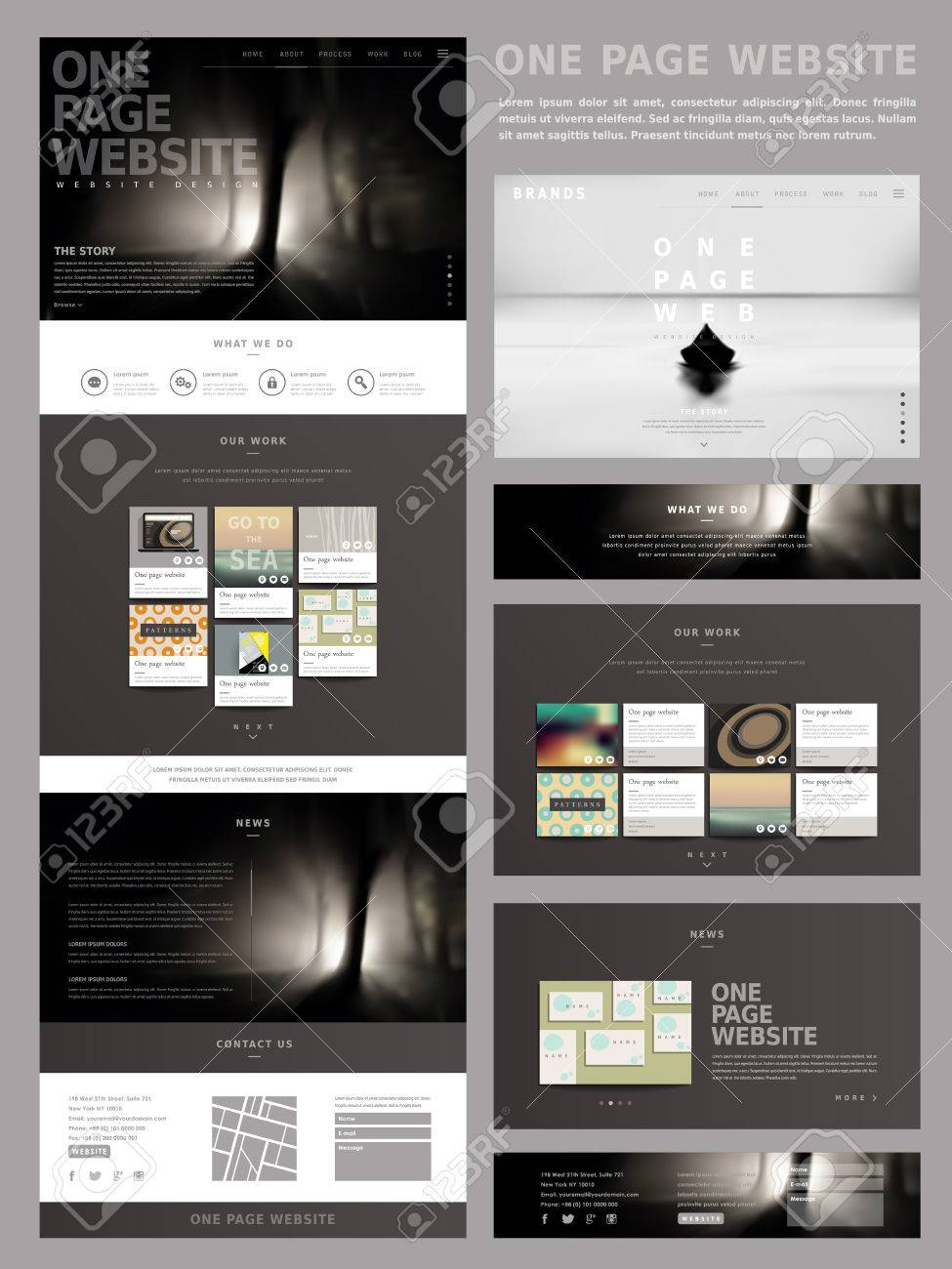 Modern Style One Page Website Design Template In Dark Color Royalty ...