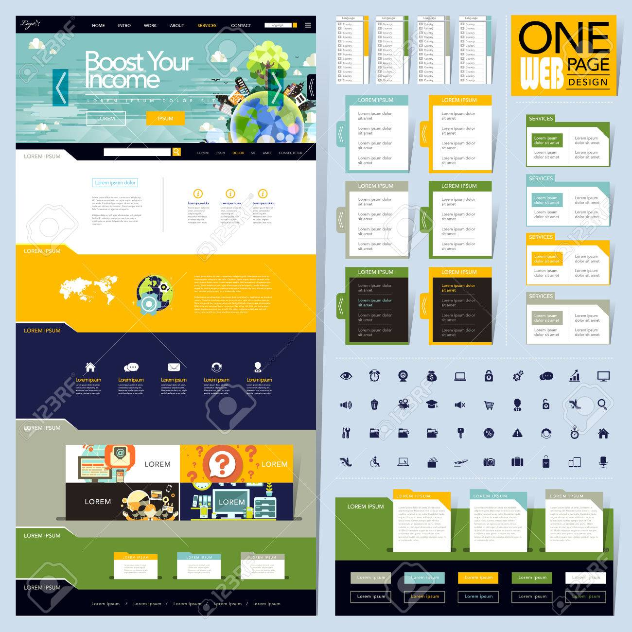 Creative Folder Style One Page Website Design Template Royalty Free ...