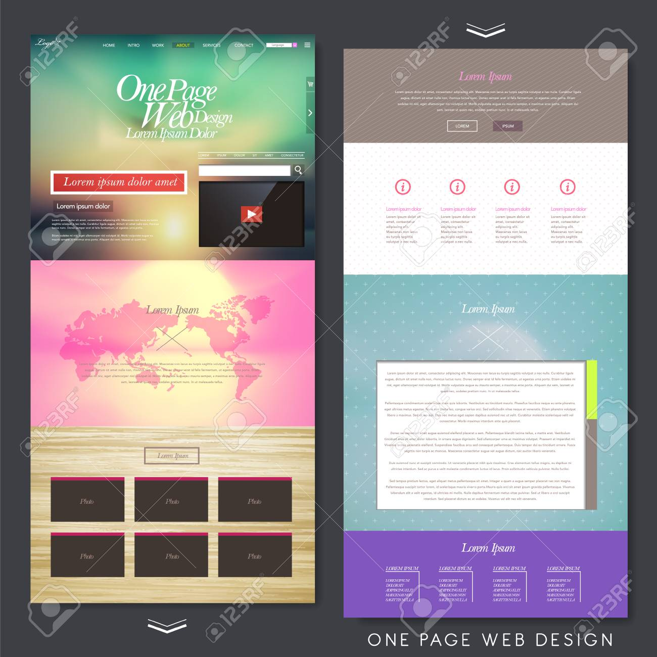 Colorful Modern Style One Page Website Design Template Royalty Free ...