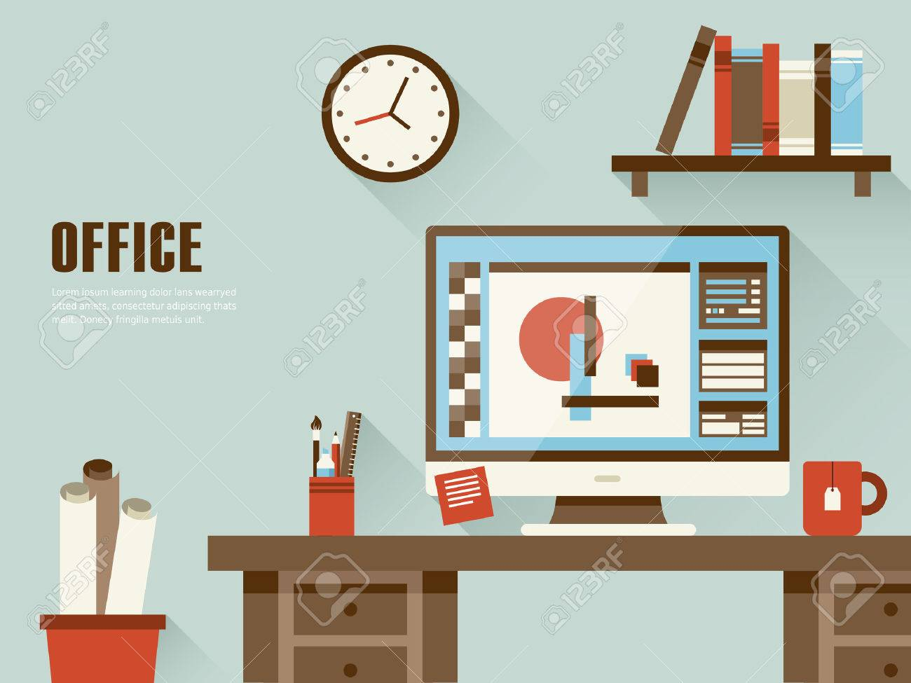interior of working place concept in flat design - 33353842
