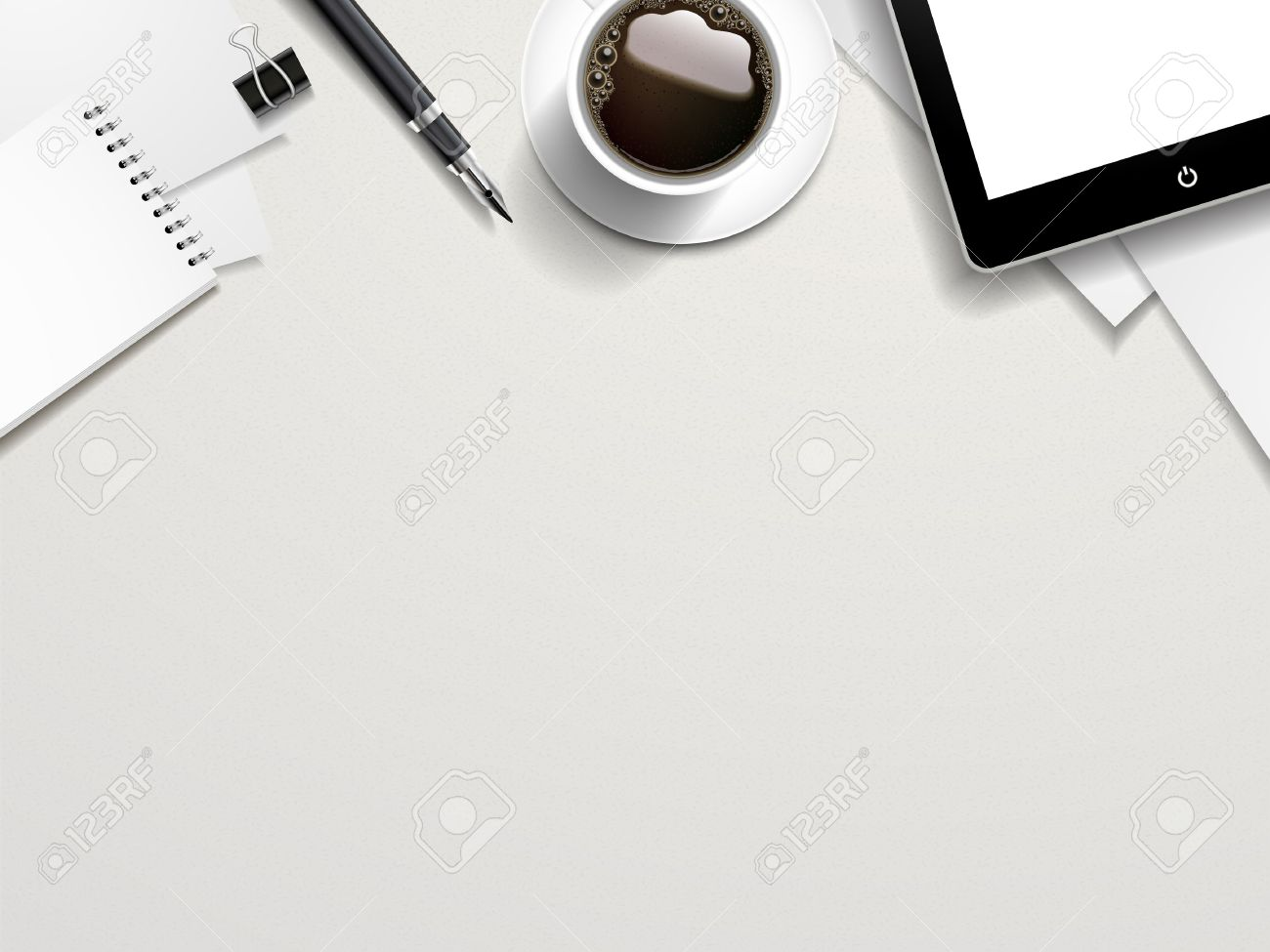 Top View Of Working Place Elements On White Table Stock Vector   33558770
