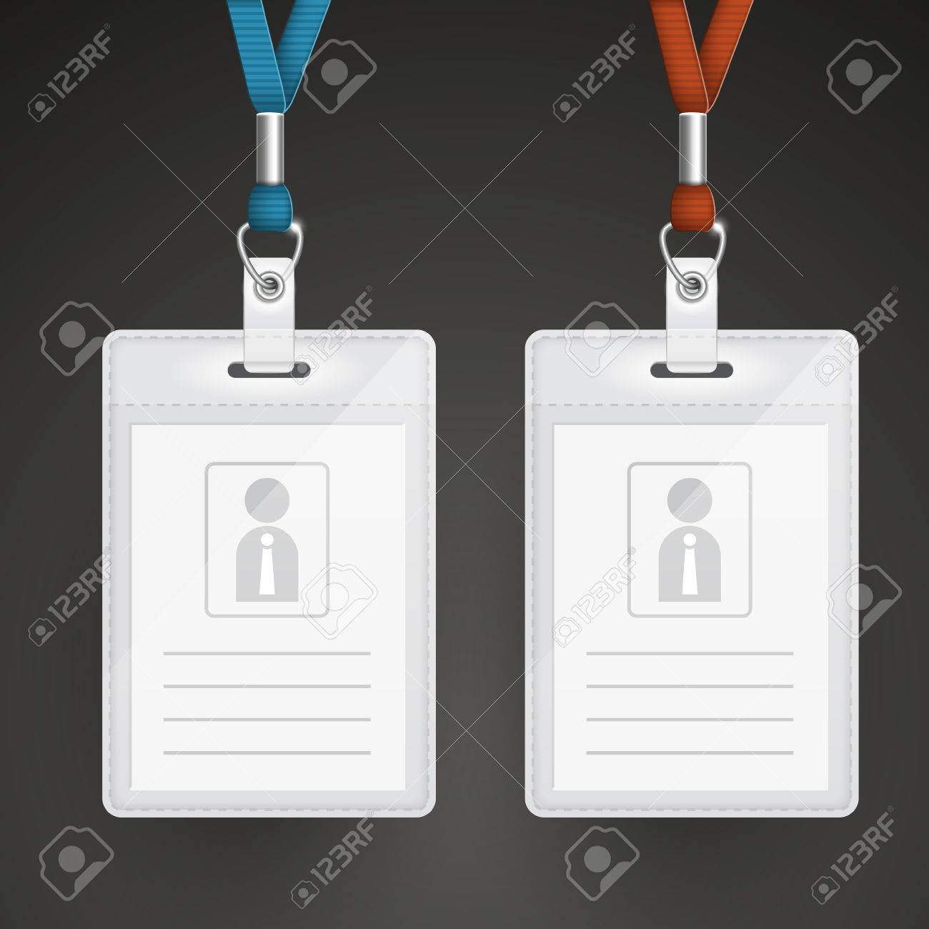 Blank Identification Cards Set Template Isolated On Black Royalty ...