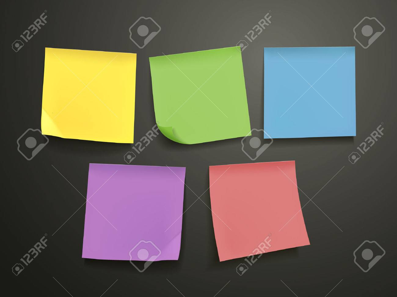 blank colorful sticky notes set over black background royalty free