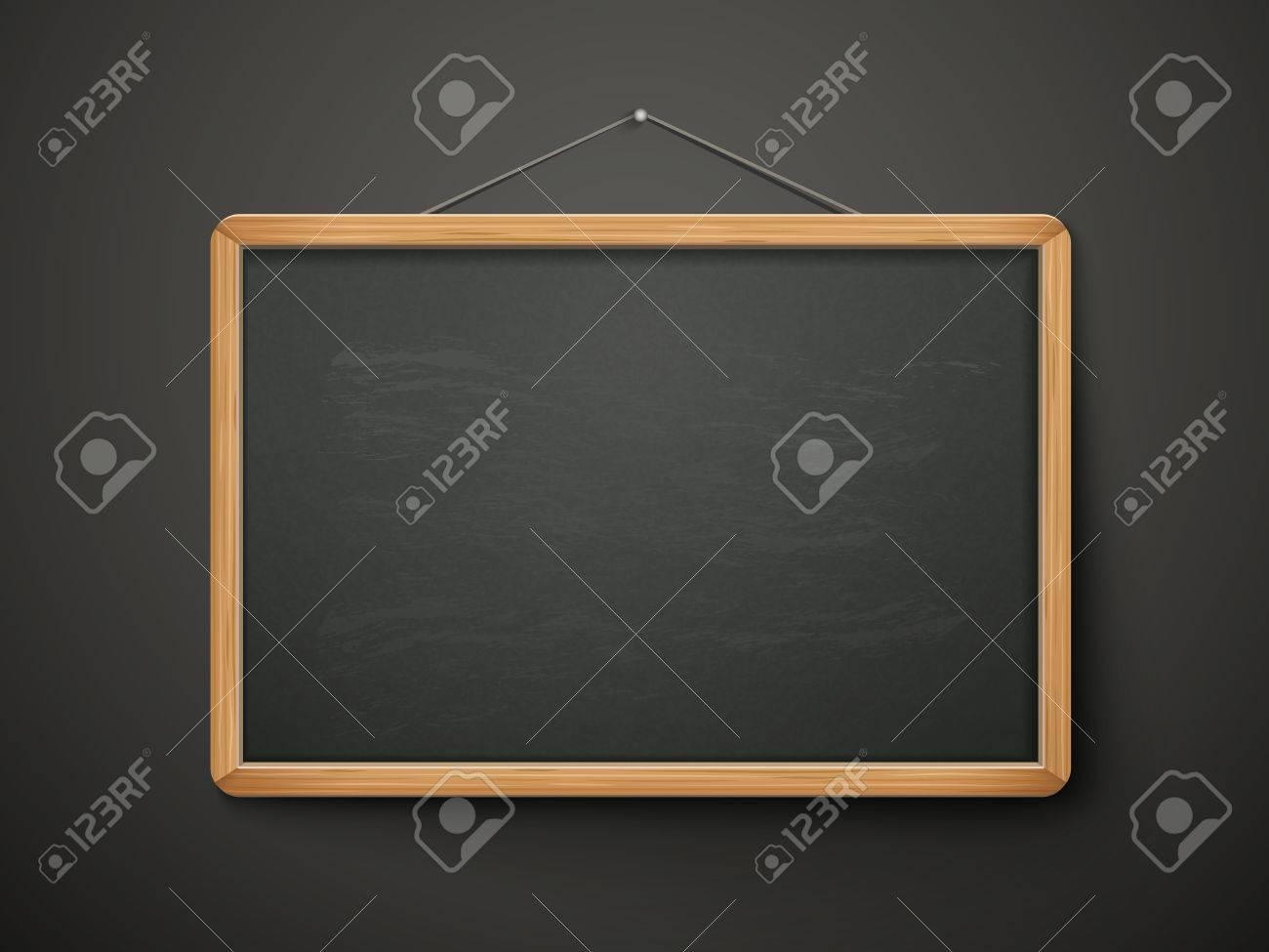 Blank Blackboard In Wooden Frame Isolated Over Black Background ...