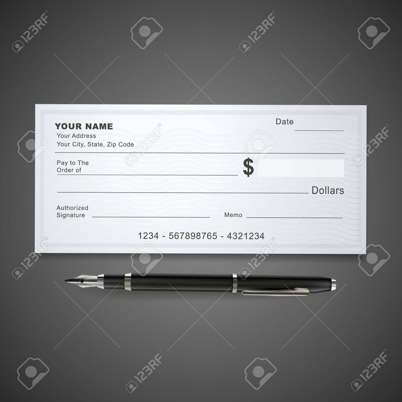 blank bank check template and pen isolated on black royalty free