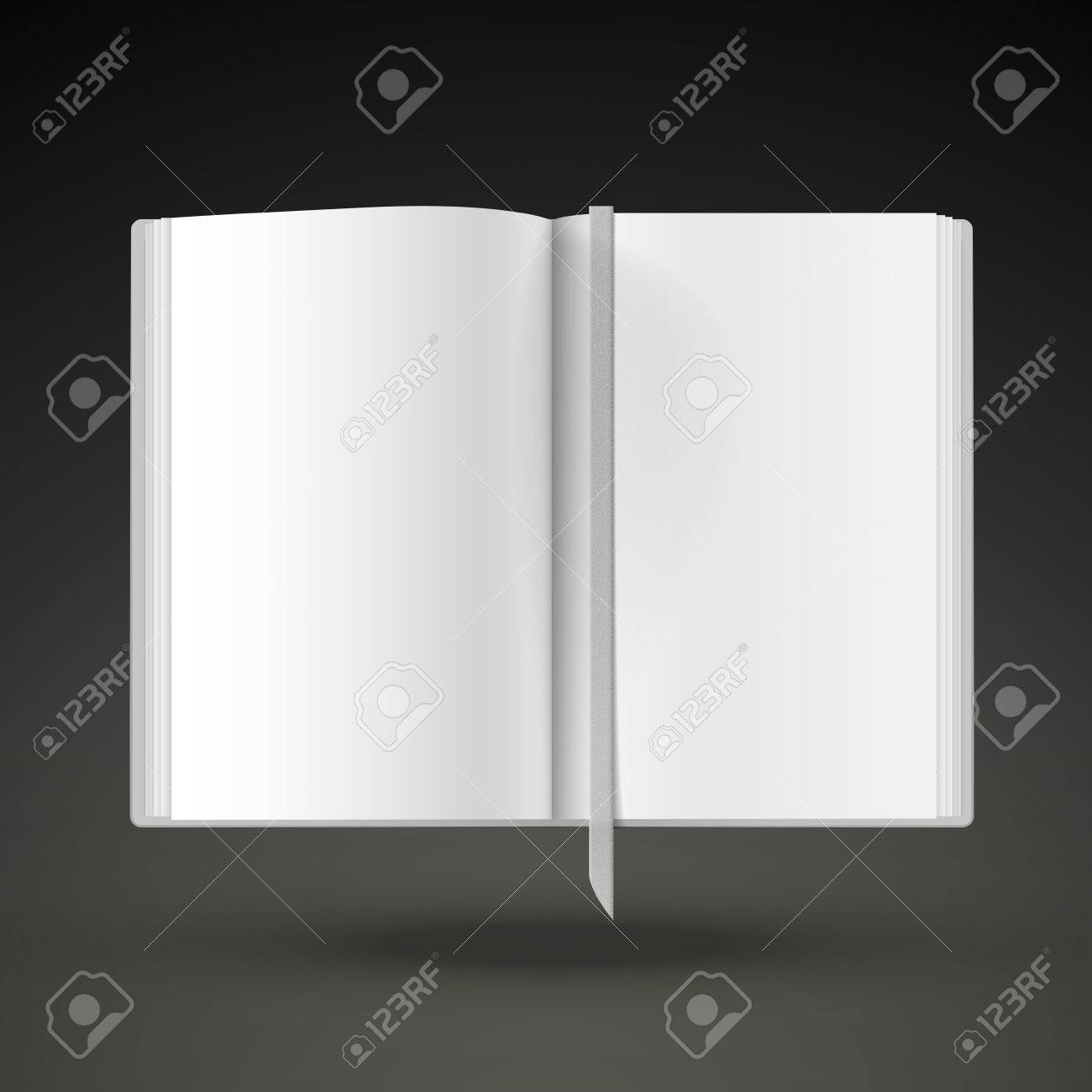 blank open book template isolated on black background royalty free