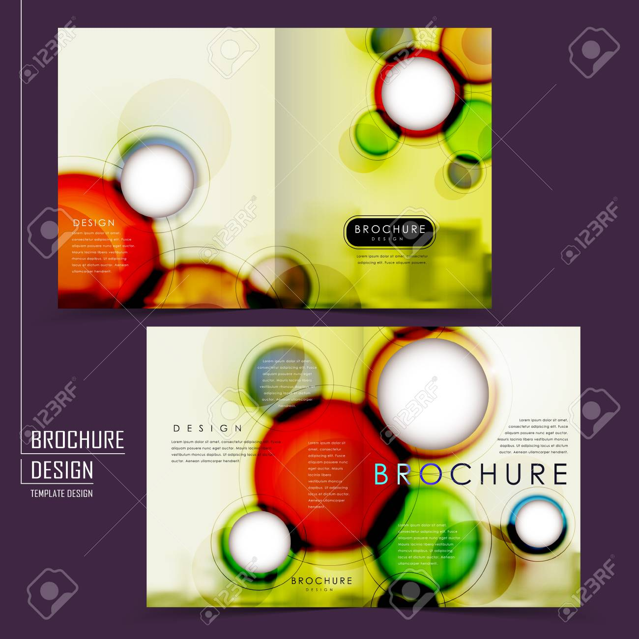 half fold brochure template design with colorful blurred background
