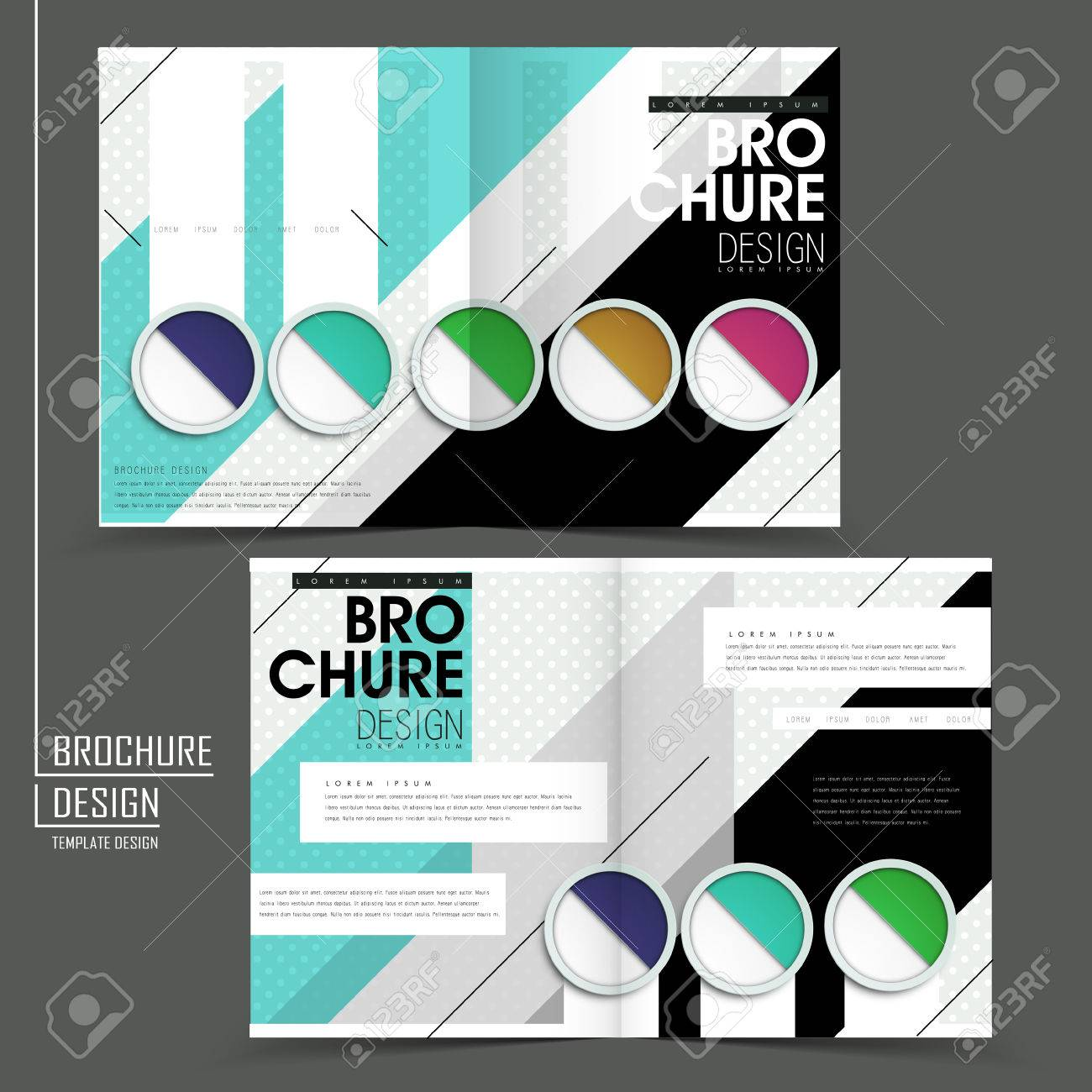 Colorful Half-fold Brochure Template In Modern Design Royalty Free ...