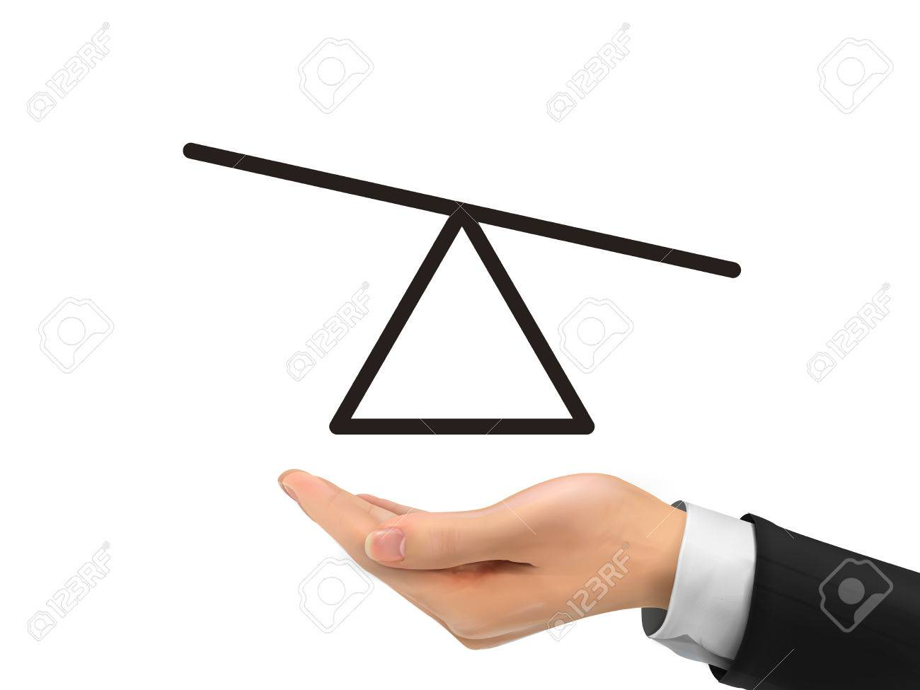 Seesaw Diagram Holding By Realistic Hand Over White Background