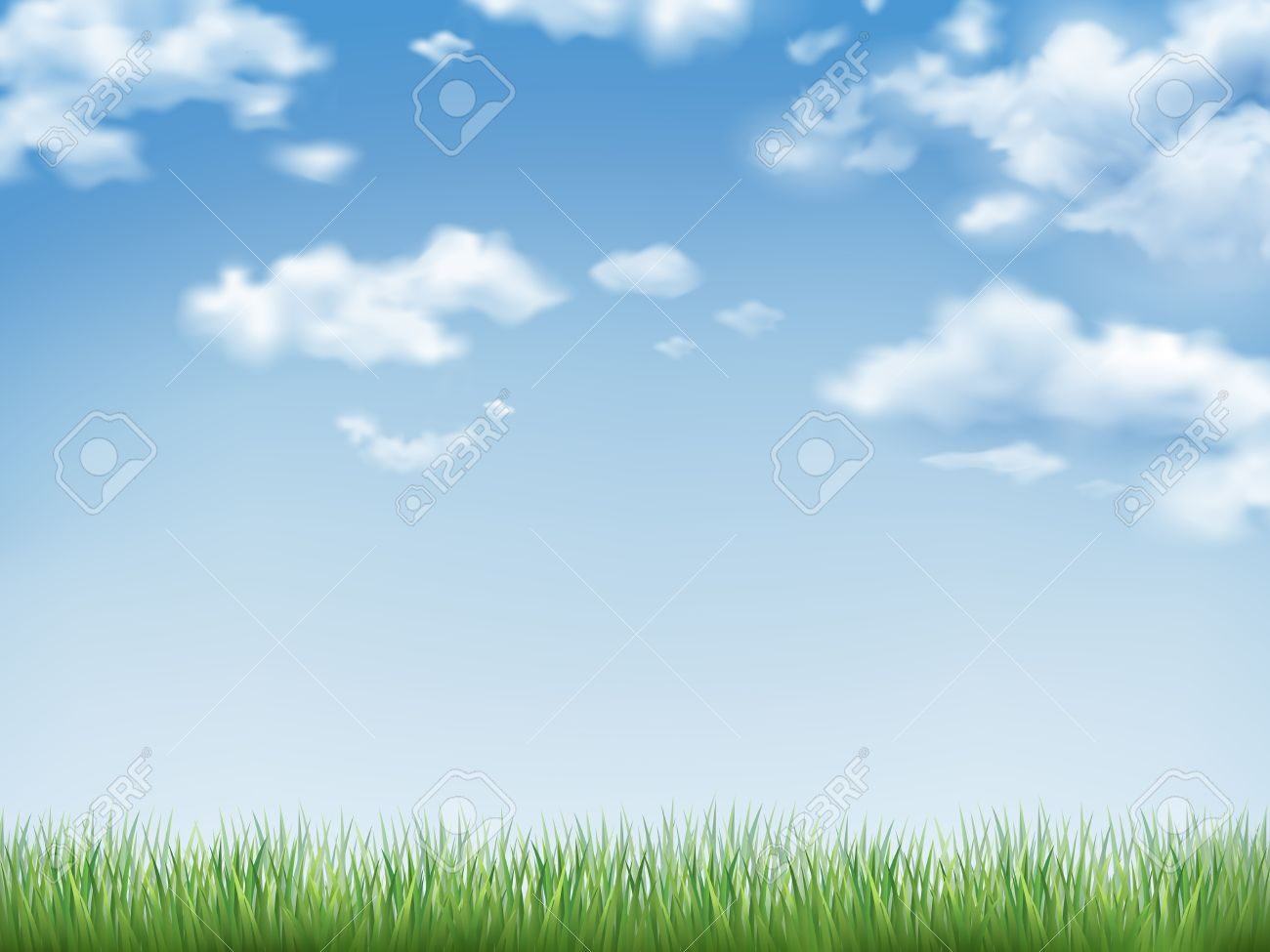 blue sky and field of green grass background royalty free cliparts