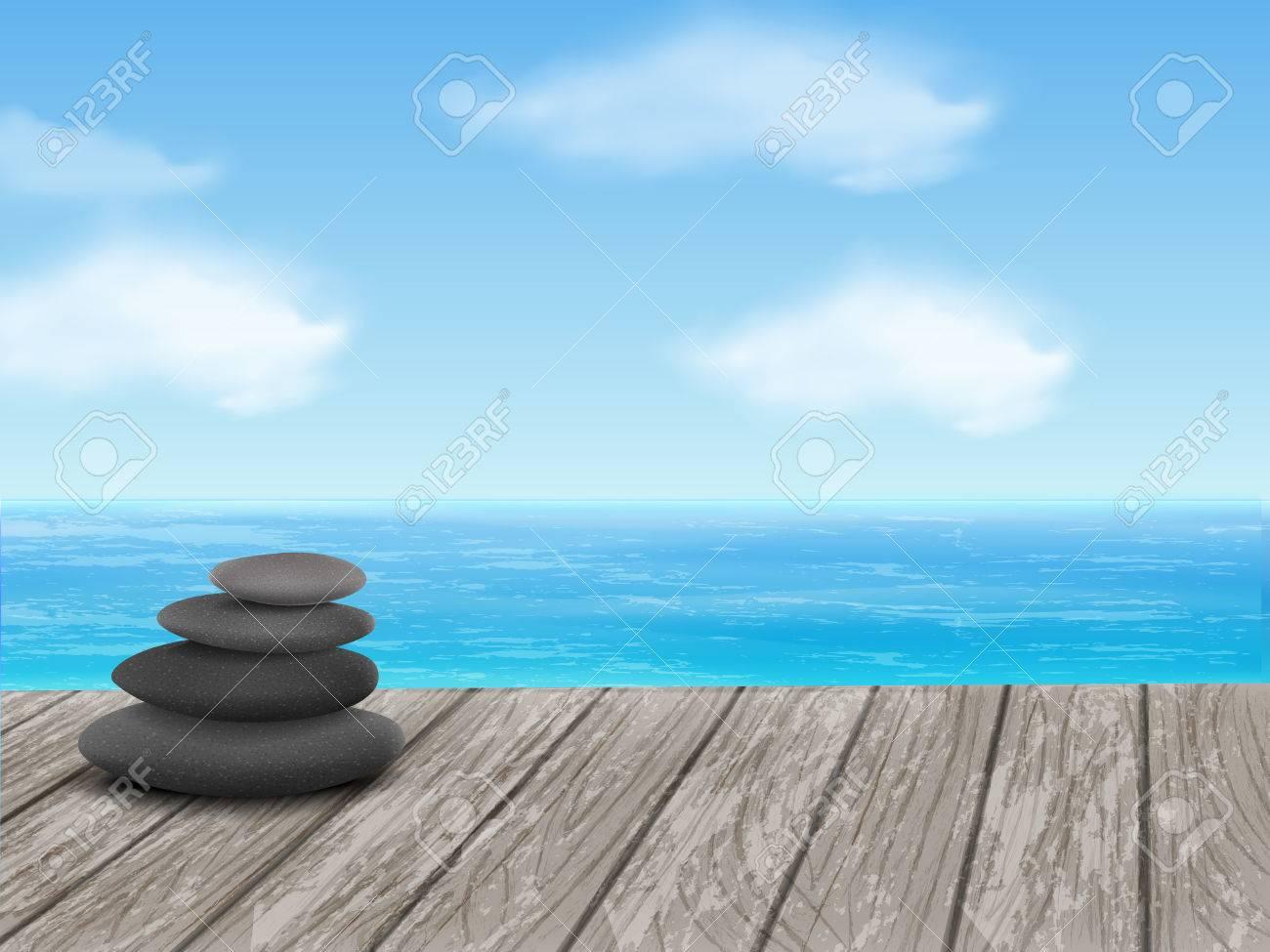 Kiezels stapel geïsoleerd op houten vloer over zee royalty vrije