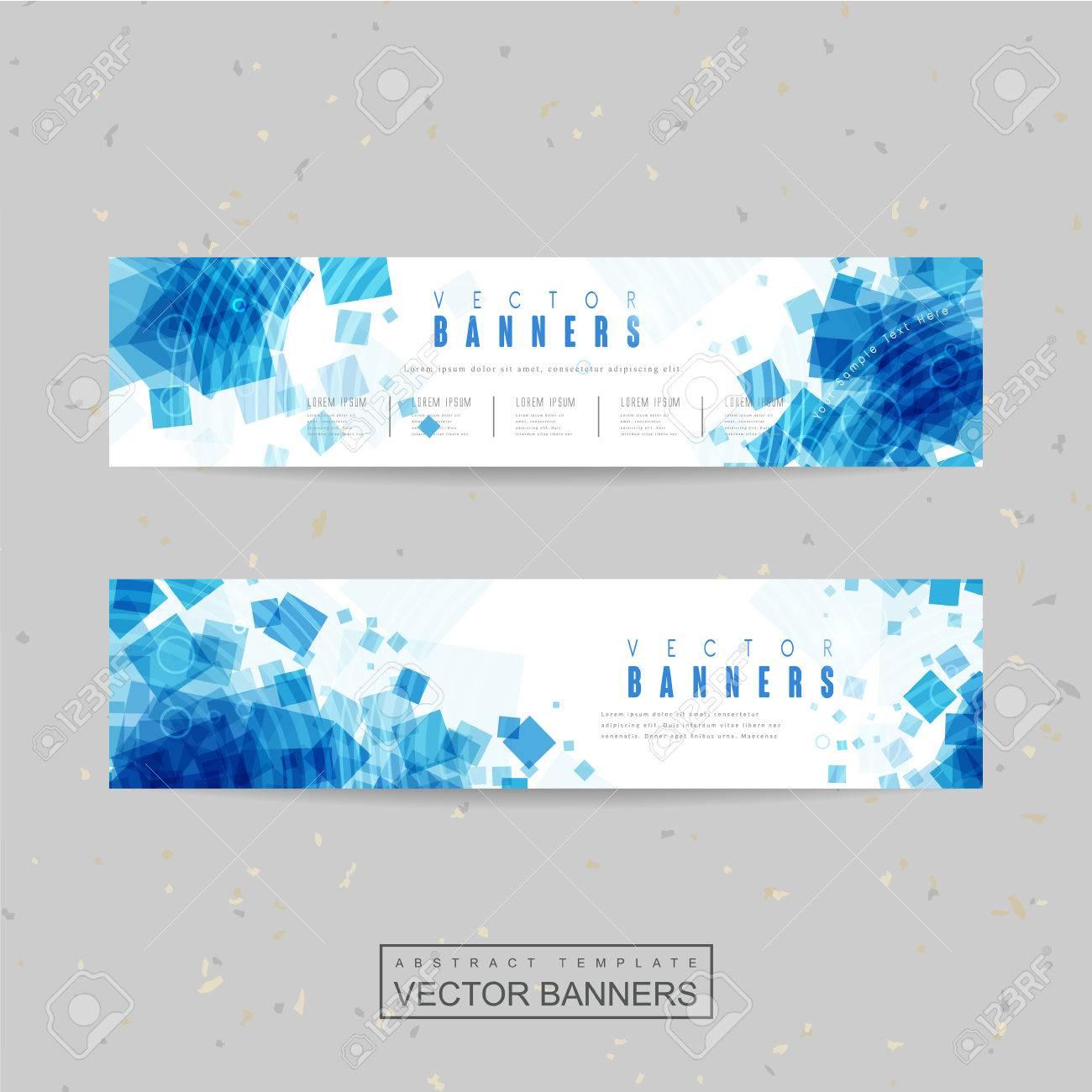 Diseño De Plantilla Banner Abstracto Con Cuadrado Azul Translúcido ...