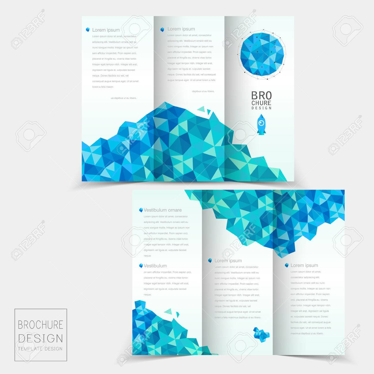 tri fold brochure template design with geometric blue crystal elements stock vector 34810724 - 3 Fold Brochure Design Templates
