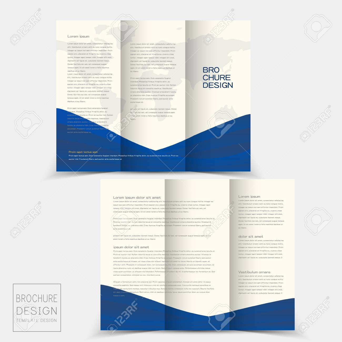 tri fold brochure design templates with dynamic wave in blue royalty