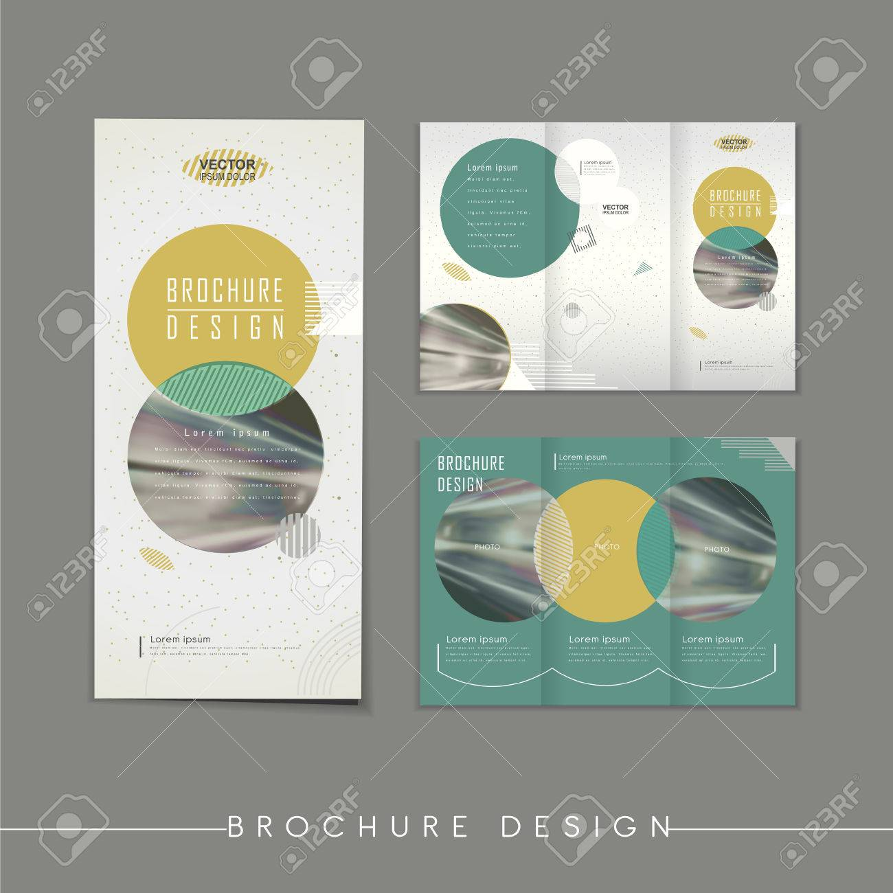 modern abstract tri fold brochure template design with circle