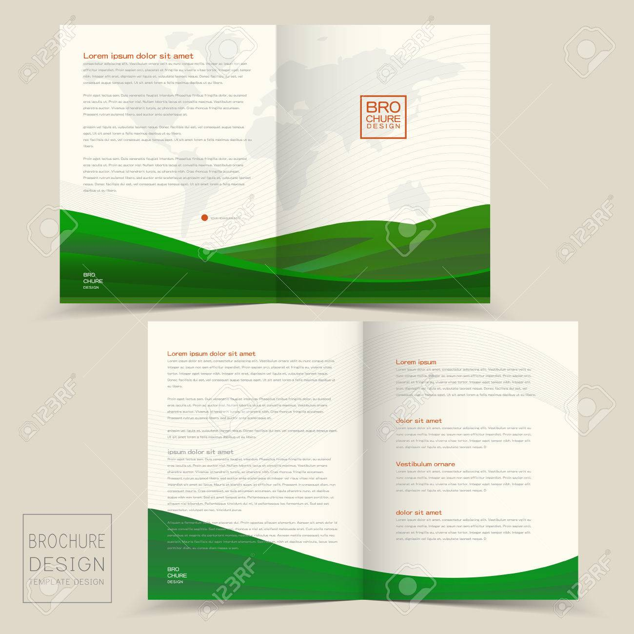 half fold brochure design templates with dynamic wave in green
