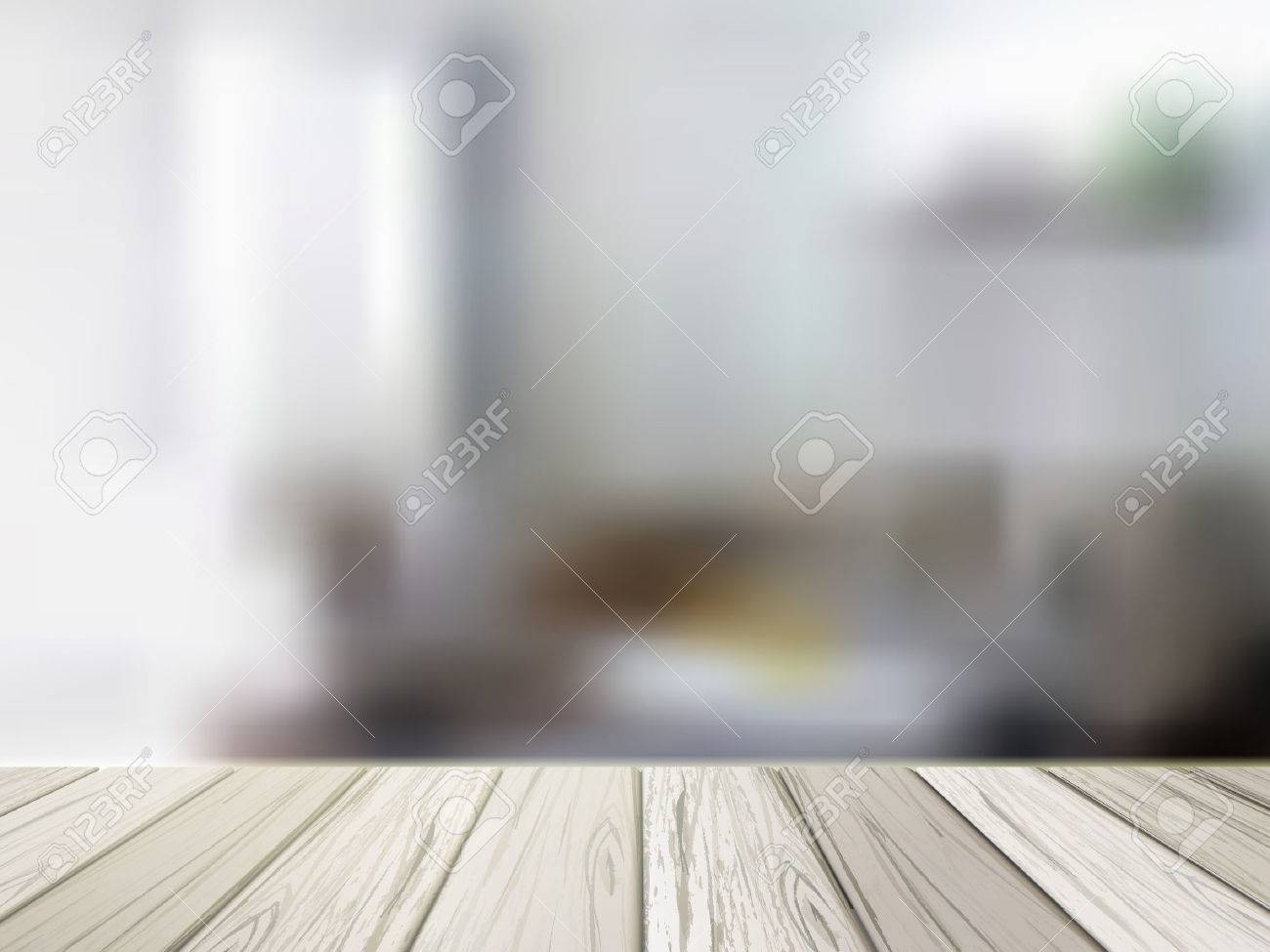 Vector   close up look at wooden table over blurred kitchen scene. Close up Look At Wooden Table Over Blurred Kitchen Scene Royalty