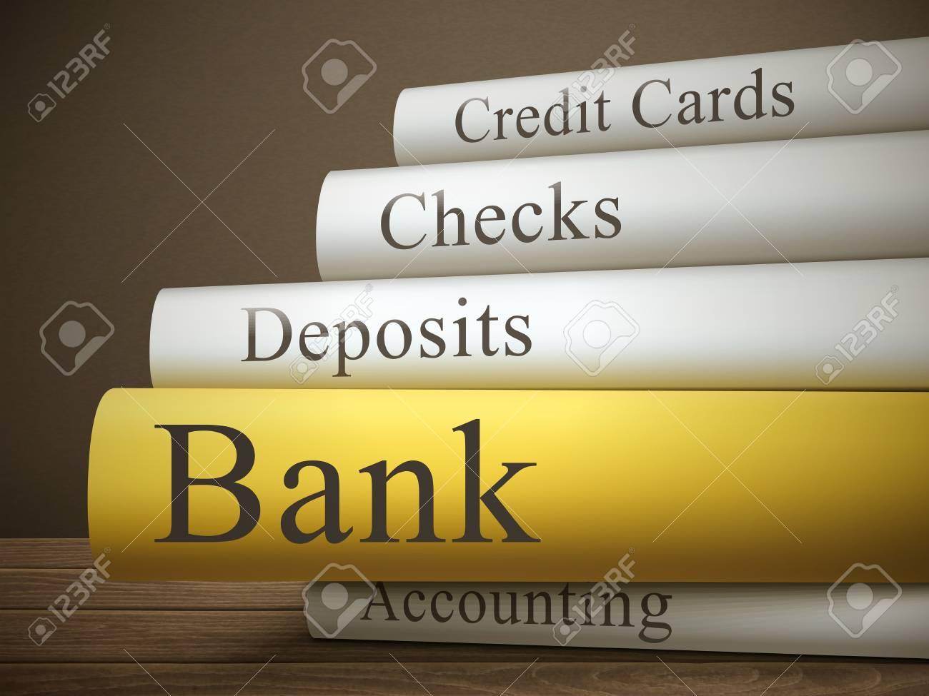 Tafel Over Bank : Titel van het boek van de bank geïsoleerd op een houten tafel over