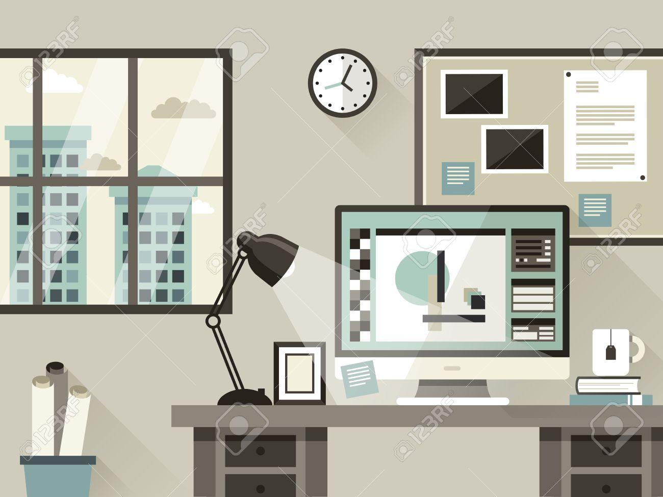 Moderne Büro Interior Darstellung In Flachen Design-Stil Lizenzfrei ...