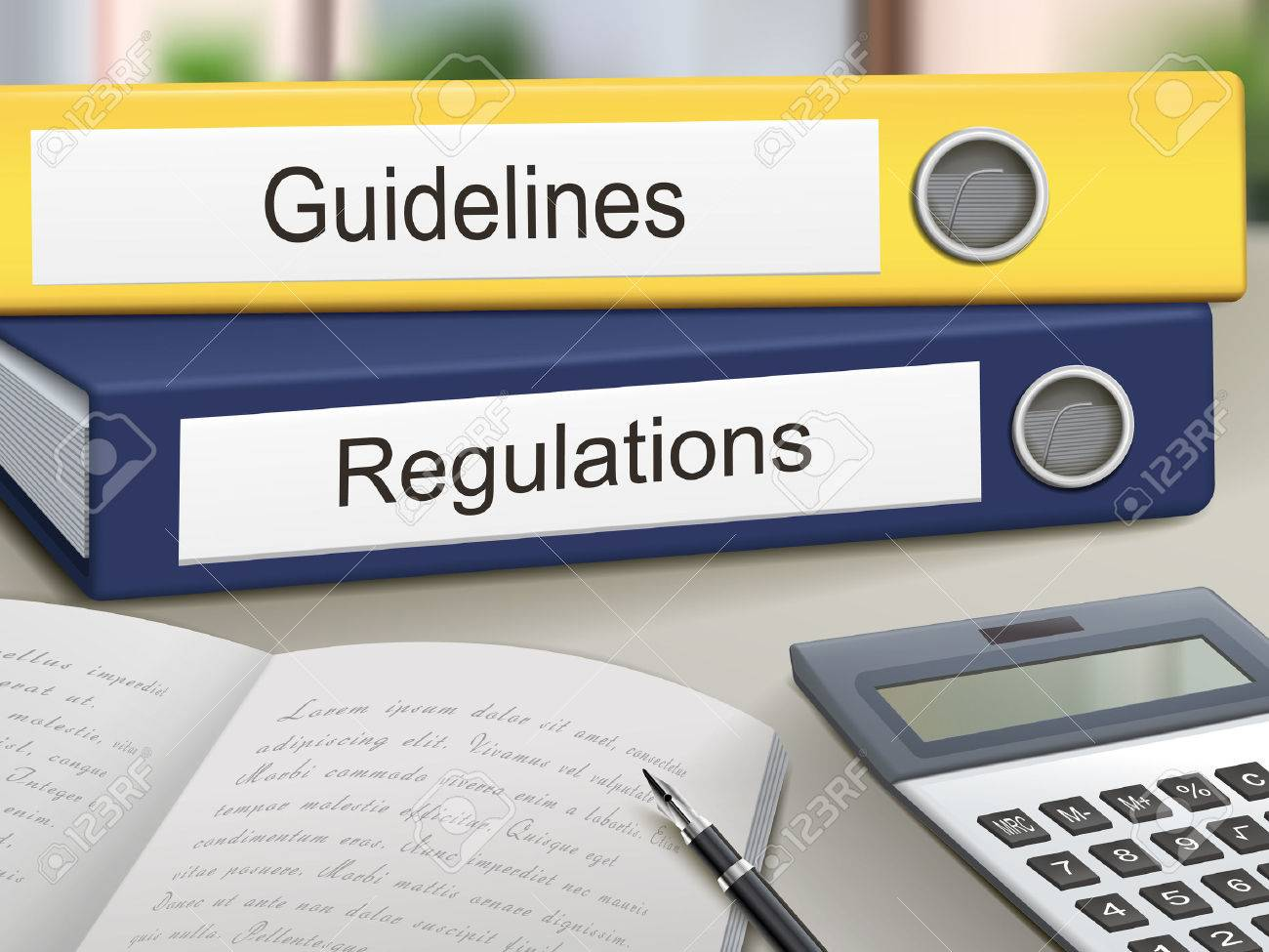 guidelines and regulations binders isolated on the office table - 35449574
