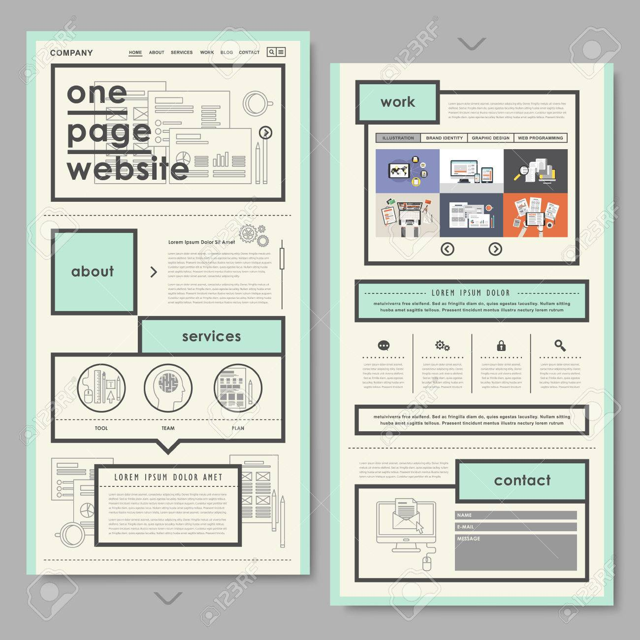 Retro Document Style One Page Website Design In Flat Royalty Free ...