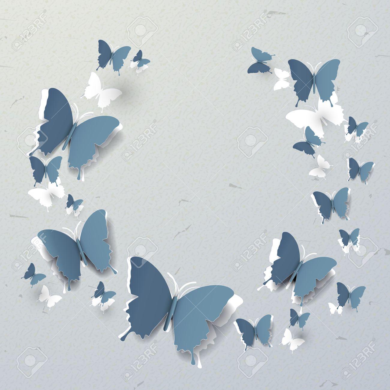 elegant 3d paper butterflies pattern cut out background royalty