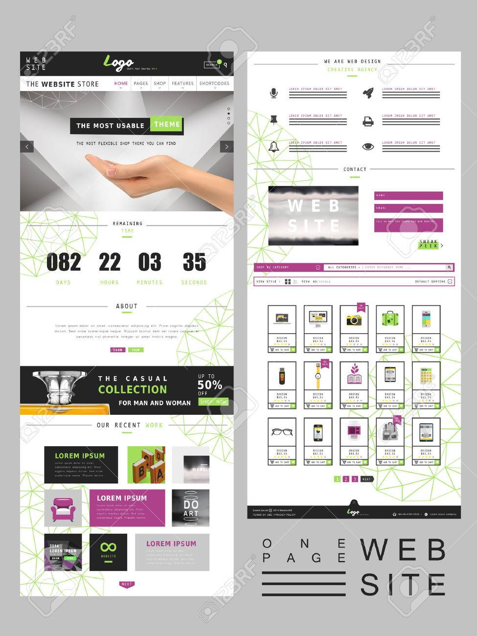 Modern Creative One Page Website Design Template Royalty Free ...