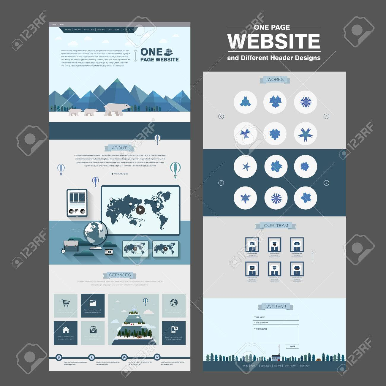 north pole scene one page website design template in flat style