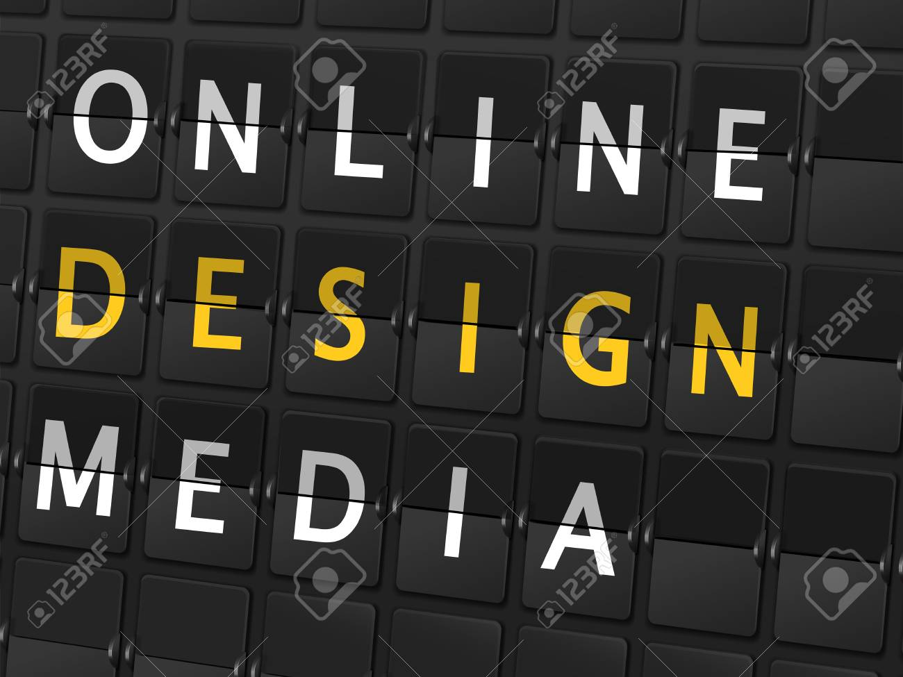 online design media words on airport board background royalty free