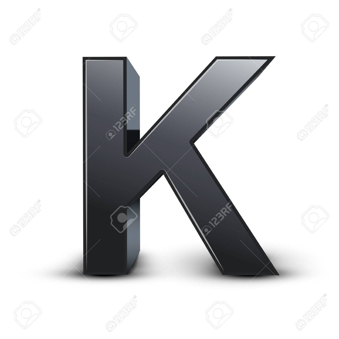 3d Black Letter K Isolated On White Background Royalty Free Cliparts